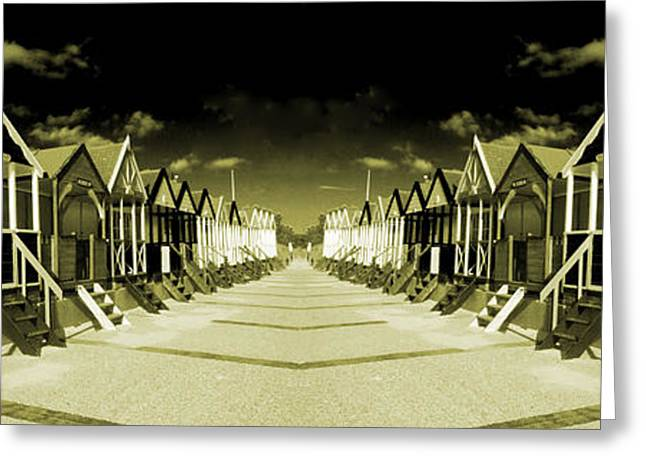 Sheds Greeting Cards - Reflected Yellow Huts  Greeting Card by Rob Hawkins