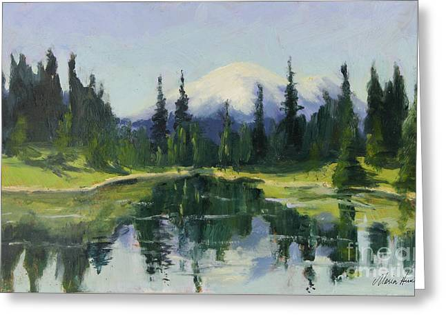 Tacoma Greeting Cards - Reflecting Mt. Rainier Greeting Card by Maria Hunt