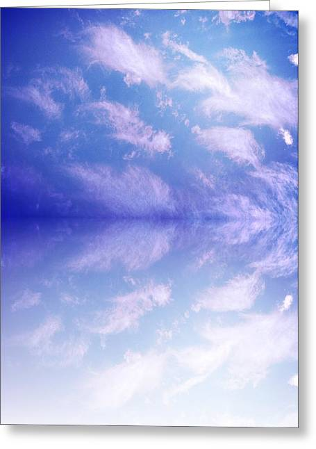 Clouds Tapestries - Textiles Greeting Cards - Reflecting 1 Greeting Card by Debra Montoya