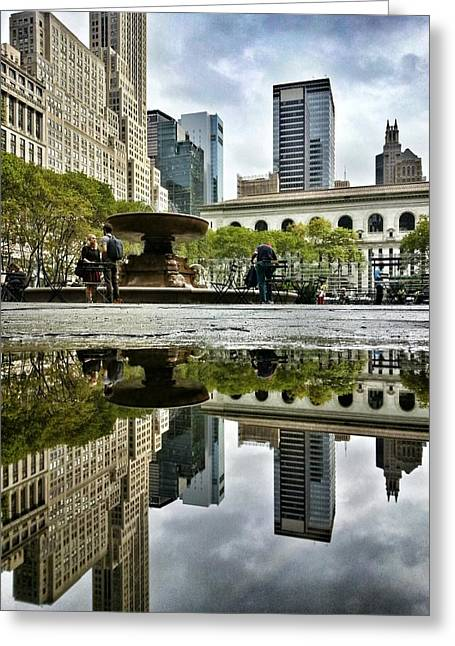 Bryant Greeting Cards - Reflecting in Bryant Park Greeting Card by Shmuli Evers