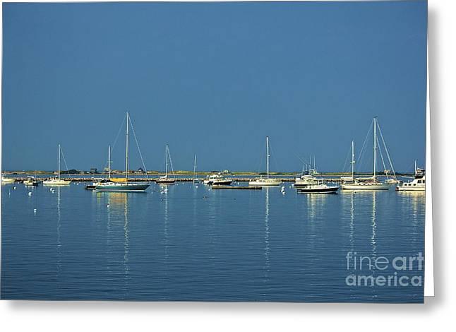 Sailboat Ocean Greeting Cards - Reflecting Masts Greeting Card by Amazing Jules