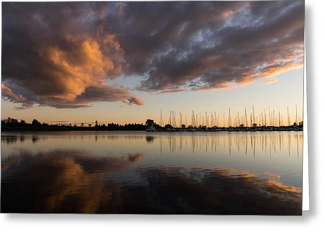 Blue Sailboats Greeting Cards - Reflecting on Boats and Clouds at Sunset Greeting Card by Georgia Mizuleva