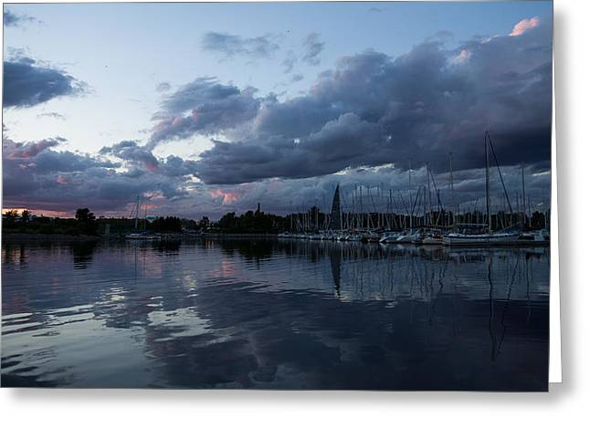 Turbulent Skies Greeting Cards - Reflecting on Boats and Clouds Greeting Card by Georgia Mizuleva