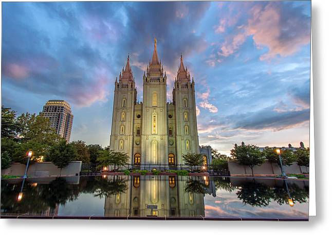 Salt Lake City Temple Greeting Cards - Reflecting on Faith Greeting Card by Dustin  LeFevre