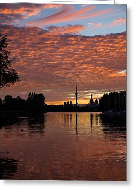 Boats On Water Greeting Cards - Reflecting on Fiery Skies - Toronto Skyline at Sunset Greeting Card by Georgia Mizuleva