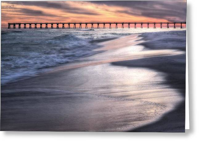 Navarre Beach Greeting Cards - Reflecting on Navarre Beach Greeting Card by JC Findley