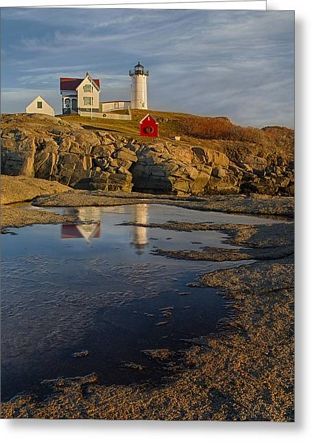 Cape Neddick Lighthouse Greeting Cards - Reflecting On Nubble Lighthouse Greeting Card by Susan Candelario