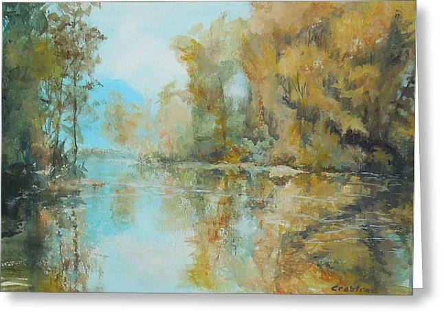 Trees Reflecting In Creek Greeting Cards - Reflecting on Reflections Greeting Card by Elizabeth Crabtree