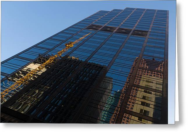Glass Wall Greeting Cards - Reflecting on Skyscrapers - Downtown Atmosphere Greeting Card by Georgia Mizuleva