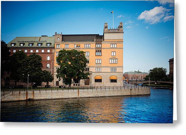 Reflecting Water Digital Art Greeting Cards - Reflecting on Stockholm Greeting Card by Jim DeLillo