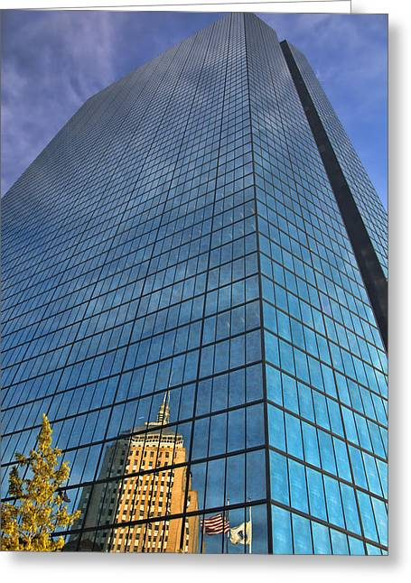 John Hancock Tower Greeting Cards - Reflecting on the Hancock - Boston Greeting Card by Joann Vitali