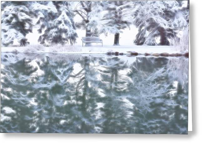Reflection Of Rocks In Water Greeting Cards - Reflecting On Winter Greeting Card by Diane Alexander