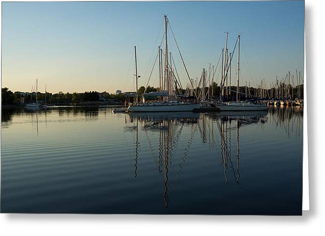 Yellow Sailboats Greeting Cards - Reflecting on Yachts - Hot Summer Afternoon Mirror Greeting Card by Georgia Mizuleva