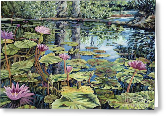 Lilly Pond Paintings Greeting Cards - Reflecting Pond Greeting Card by Danielle  Perry