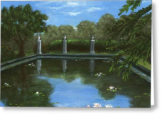 Reflecting Water Drawings Greeting Cards - Reflecting Pool Greeting Card by Anastasiya Malakhova