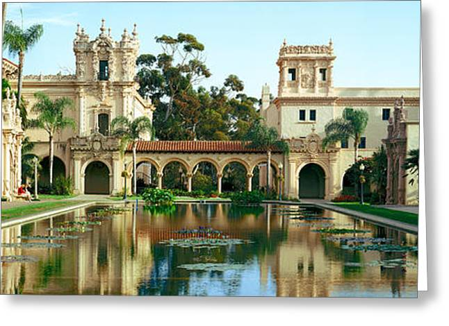Balboa Park Greeting Cards - Reflecting Pool In Front Of A Building Greeting Card by Panoramic Images