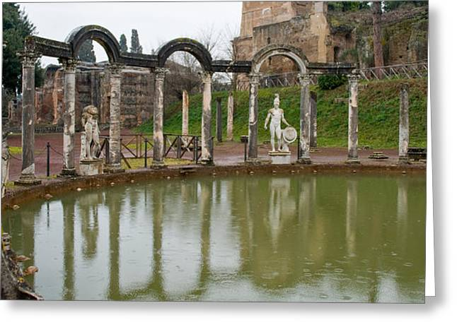 Archaeology Sculpture Greeting Cards - Reflecting Pool In Hadrians Villa Greeting Card by Panoramic Images