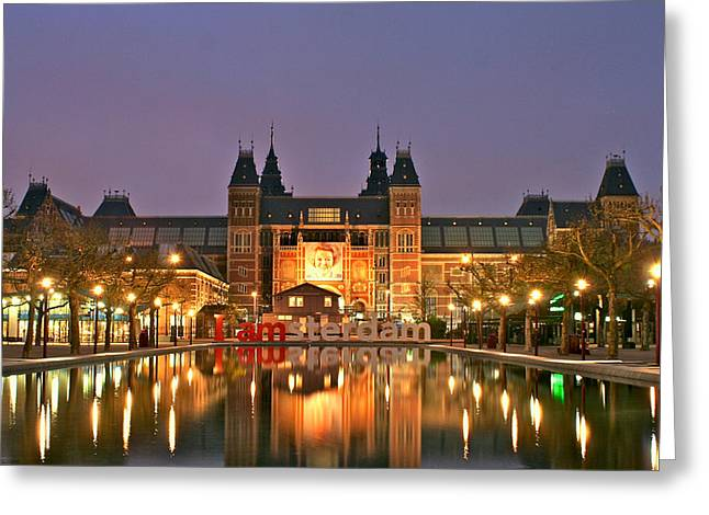 Reflecting Water Pyrography Greeting Cards - Reflecting Pool Rijks Museum Amsterdam Greeting Card by DUG Harpster
