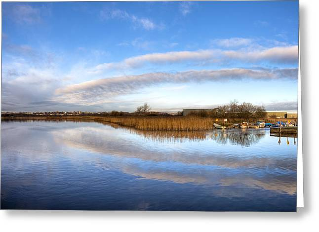 Unique View Greeting Cards - Reflecting Skies on the River Corrib in Galway Greeting Card by Mark Tisdale