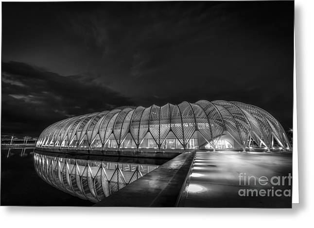 Dark Skies Photographs Greeting Cards - Reflecting The Future-bw Greeting Card by Marvin Spates
