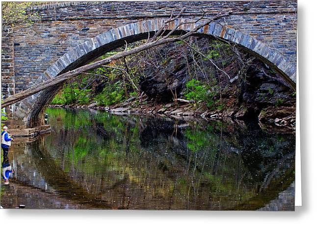 The Narrows Covered Bridge Greeting Cards - Reflecting While Fishing Greeting Card by Tom Gari Gallery-Three-Photography