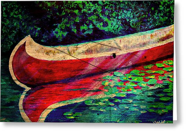 Canoe Mixed Media Greeting Cards - Reflection 2 Greeting Card by M and L Creations