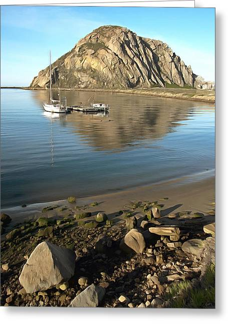 Morro Bay Harbor Greeting Cards - Reflection Anchorage Greeting Card by Barbara Snyder