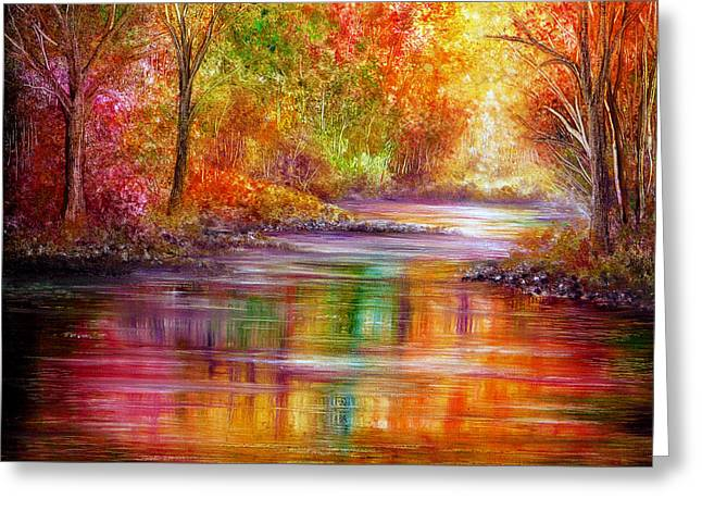 Kinkade Greeting Cards - Reflection Greeting Card by Ann Marie Bone