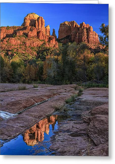 Red Rock Crossing Greeting Cards - Reflection at Red Rock Crossing Greeting Card by Medicine Tree Studios