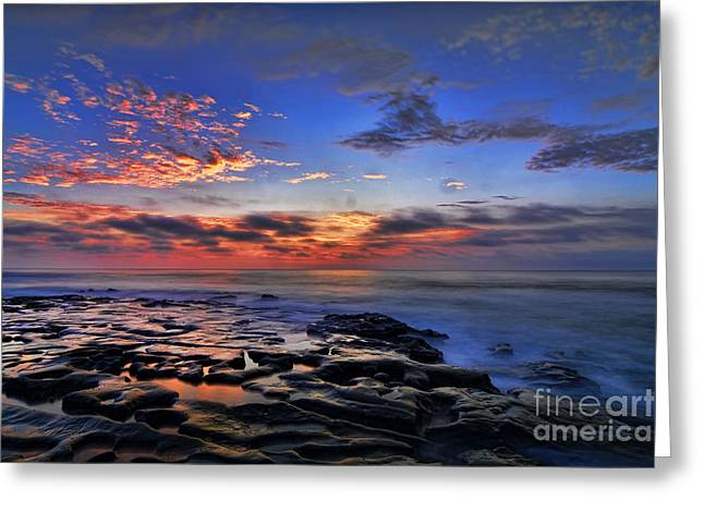 Moon Beach Pyrography Greeting Cards - Sunset at Tide Pools at La Jolla Greeting Card by Peter Dang