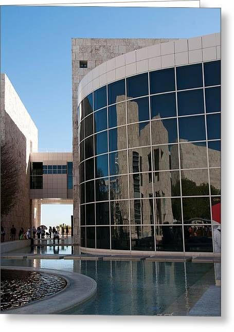 Getty Greeting Cards - Reflection at the Getty Museum Greeting Card by Martina Thompson