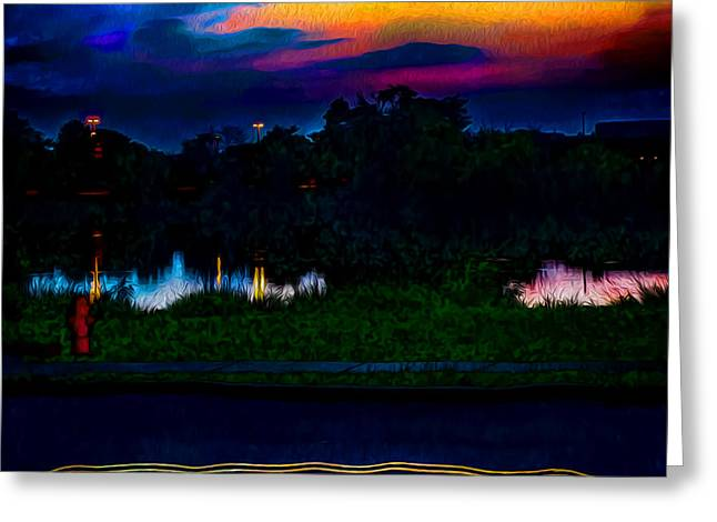 Unique Art Greeting Cards - Reflection at Twilight Greeting Card by Ron Fleishman