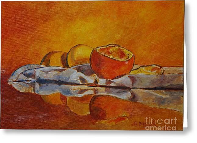 Tangerine Greeting Cards - Reflection Greeting Card by Barbara Moak