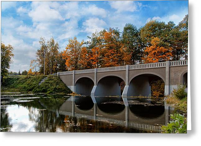 Western New York Greeting Cards - Reflection Bridge Greeting Card by Peter Chilelli