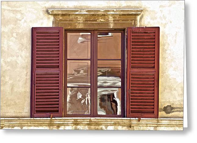 Carved Stone Greeting Cards - Reflection in a Window of Tuscany Greeting Card by David Letts