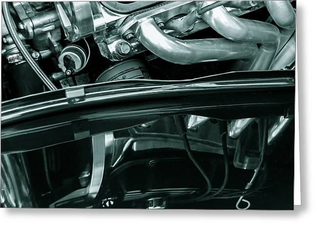 Monochrome Hot Rod Greeting Cards - Reflection in Black - Ford Corba Engines Greeting Card by Steven Milner