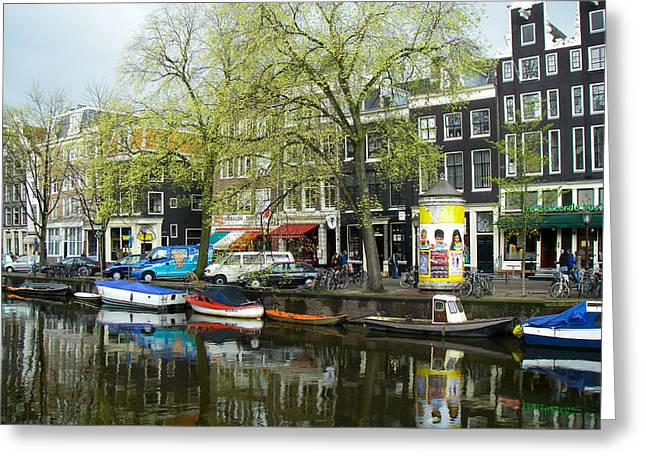 Geobob Greeting Cards - Reflection in Canal Amsterdam Netherlands Greeting Card by Robert Ford
