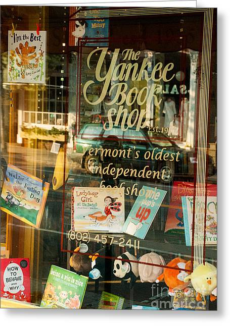 Geobob Greeting Cards - Reflection in Window of Yankee Book Shop Woodstock Vermont Greeting Card by Robert Ford