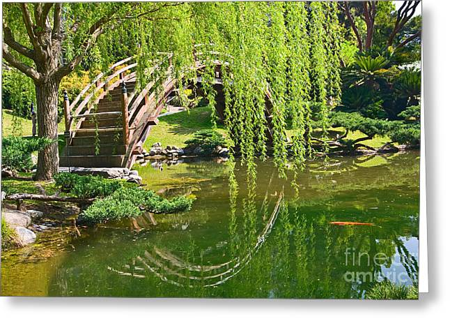 Willow Lake Greeting Cards - Reflection - Japanese Garden with Moon Bridge and Lotus Pond and Koi Fish. Greeting Card by Jamie Pham