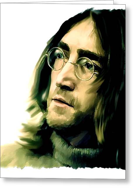 Beatles Canvas Greeting Cards - Reflection  John Lennon Greeting Card by Iconic Images Art Gallery David Pucciarelli
