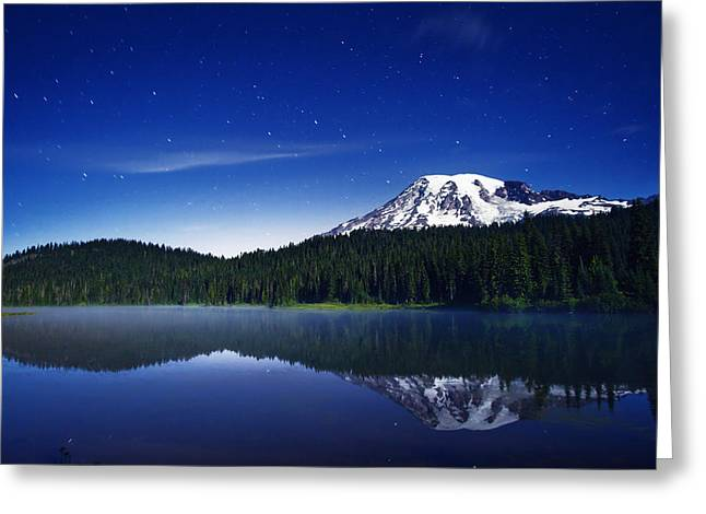 Mount Photographs Greeting Cards - Reflection Lake Stars Greeting Card by Darren  White