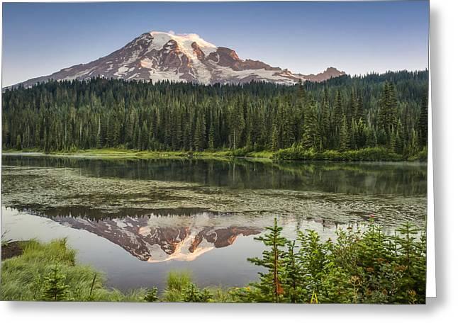 Snow Tree Prints Greeting Cards - Reflection Lakes at Mount Rainier Greeting Card by Kyle Wasielewski