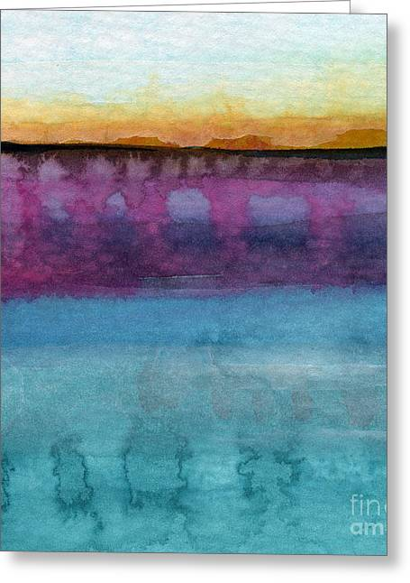 Abstract Seascape Art Greeting Cards - Reflection Greeting Card by Linda Woods