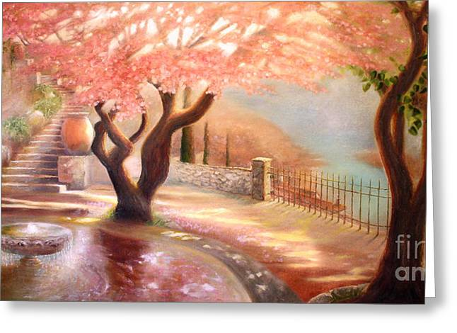 Cherry Blossoms Paintings Greeting Cards - Reflection Greeting Card by Michael Rock