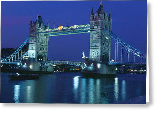 Famous Bridge Greeting Cards - Reflection Of A Bridge On Water, Tower Greeting Card by Panoramic Images