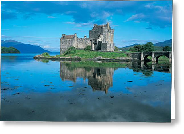 Civilization Greeting Cards - Reflection Of A Castle In Water, Eilean Greeting Card by Panoramic Images