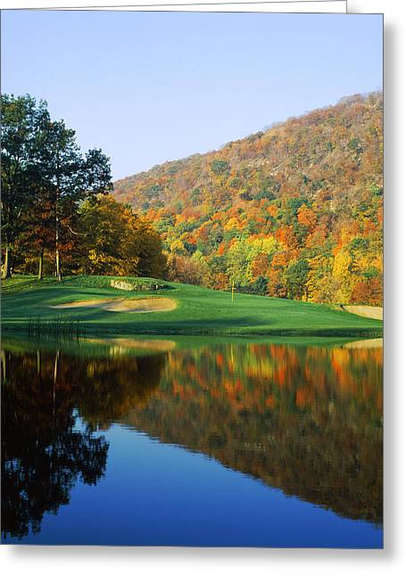 West Point Greeting Cards - Reflection Of A Hill On Water, West Greeting Card by Panoramic Images