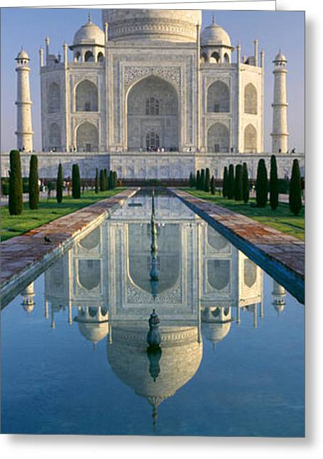 Arches Memorial Photography Greeting Cards - Reflection Of A Mausoleum On Water, Taj Greeting Card by Panoramic Images