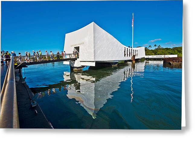 American Flag Photography Greeting Cards - Reflection Of A Memorial In Water, Uss Greeting Card by Panoramic Images
