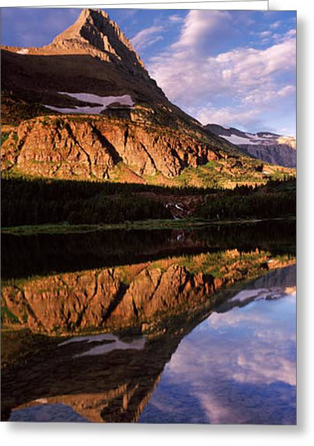 Us Glacier National Park Greeting Cards - Reflection Of A Mountain In A Lake Greeting Card by Panoramic Images